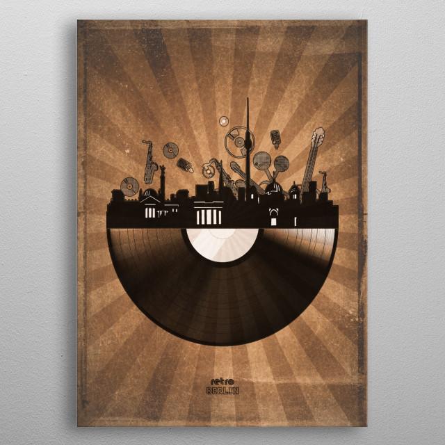 Berlin skyline inspired by pop art,retro,vinyl,art design metal poster