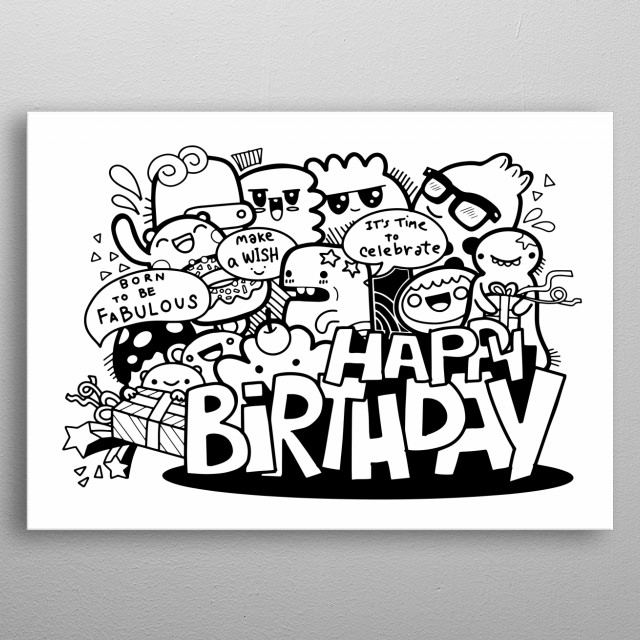 Cartoon People and Happy Birthday, Hand Drawn  Illustration of Doodle metal poster