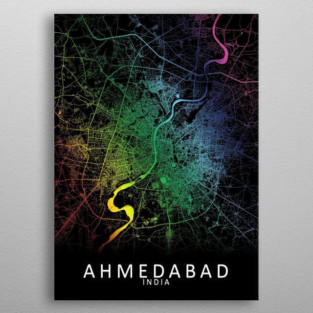 High-quality metal print from amazing Rainbow City Maps collection will bring unique style to your space and will show off your personality. metal poster