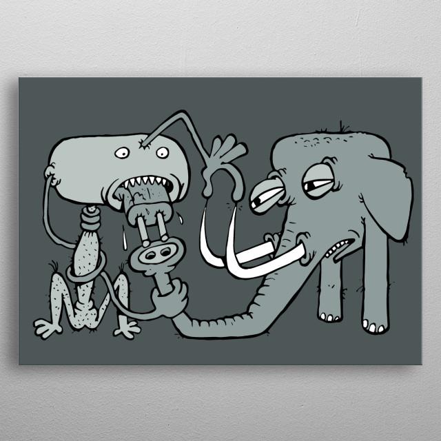 absurd creature illustration metal poster