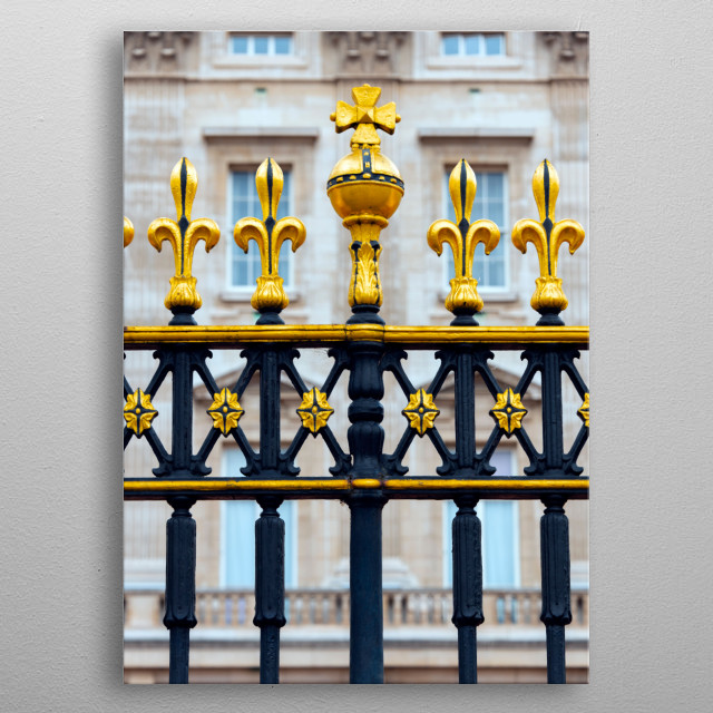 Ornament gate to Buckingham Palace metal poster