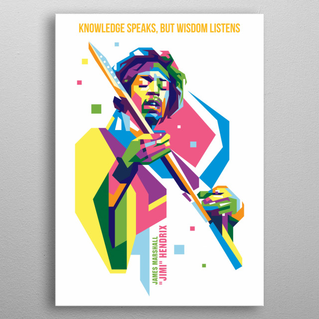 jimi hendrix in wpap vector portrait illustration metal poster