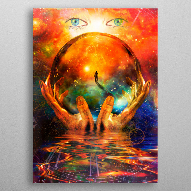 Crystal ball in hands with vivid space background metal poster