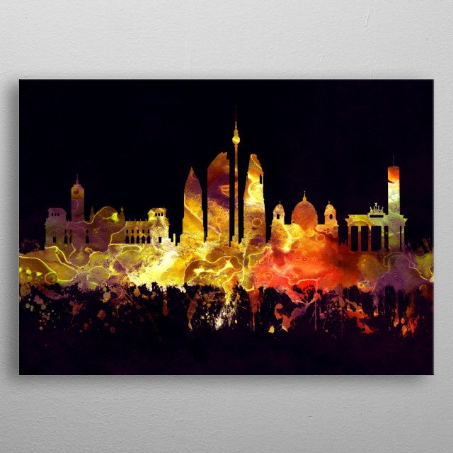 Black and Gold skyline of Berlin, capital of Germany metal poster