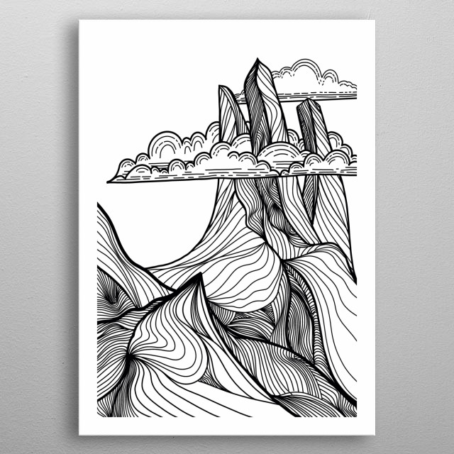 Hand drawn , an illustration of mountain landscape metal poster