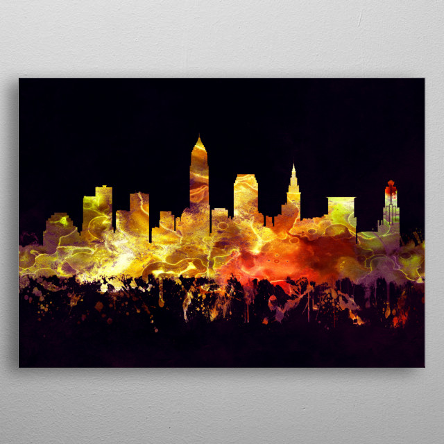 Black and Gold skyline of Cleveland, a major city in the U.S. state of Ohio  metal poster
