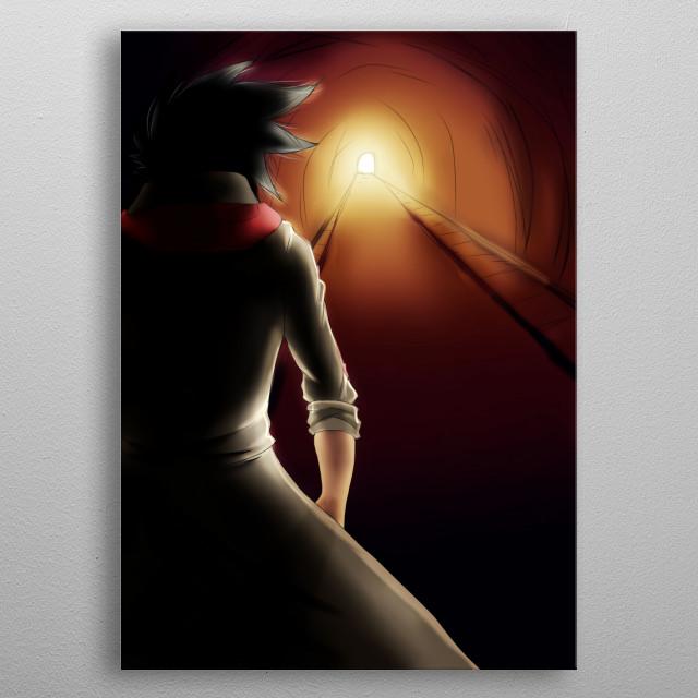 ilustración de un personaje caminando hacia el fin de un túnel. metal poster