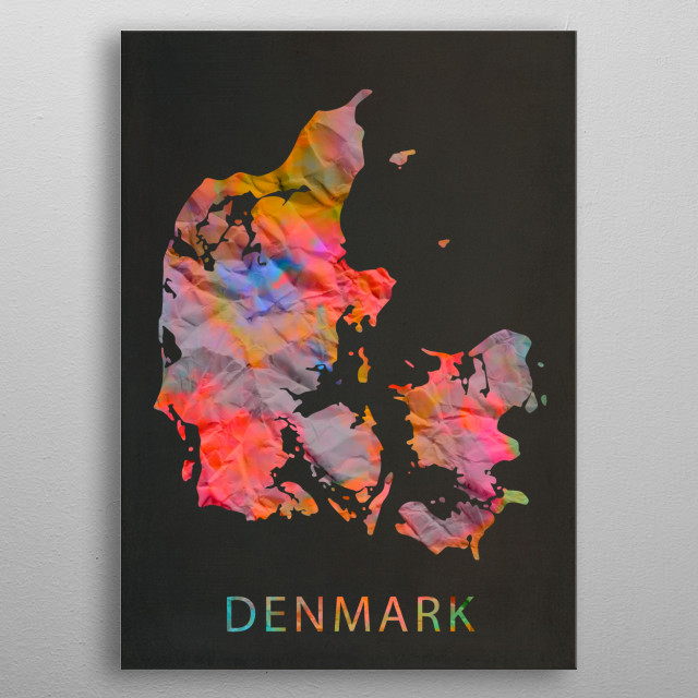 Denmark Tie Dye Country Map metal poster