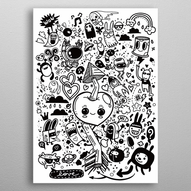 Hand Drawn  Illustration of Doodle, Love and fun concept metal poster