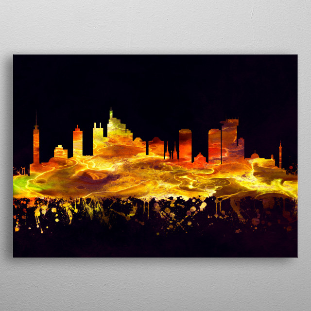 Black and Gold skyline of Jakarta, Indonesia's massive capital, sits on the northwest coast of the island of Java  metal poster