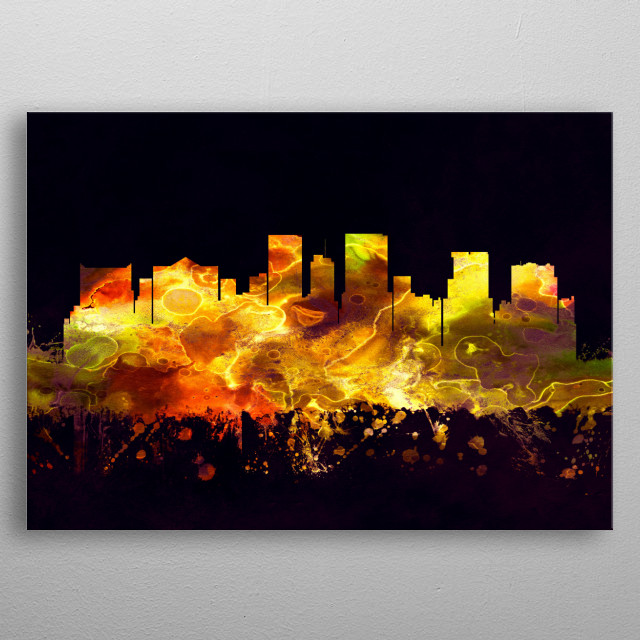 Black and Gold skyline of El Paso, a city in west Texas, along the waters of the Rio Grande  metal poster