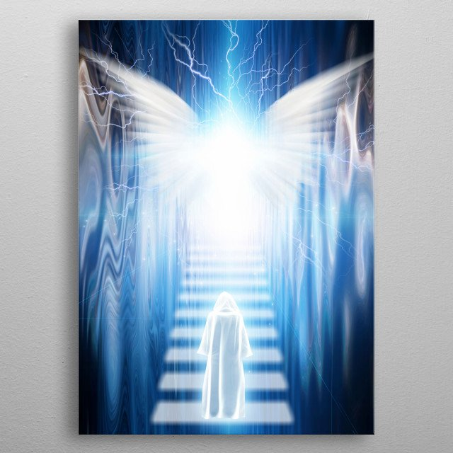 Angelic figure in reflecting space metal poster