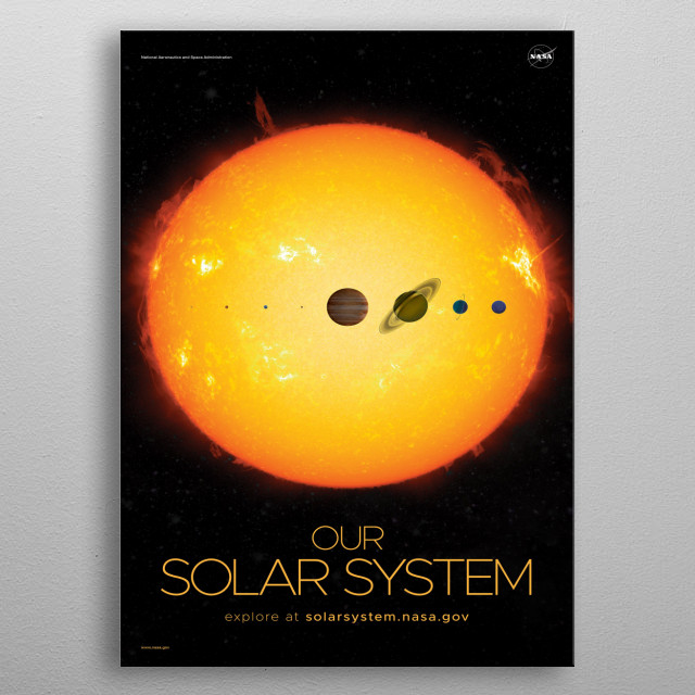 The Solar System is the gravitationally bound planetary system of the Sun and the objects that orbit it, either directly or indirectly. metal poster