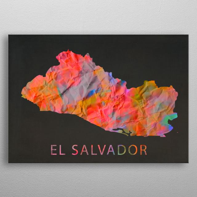 El Salvador Tie Dye Country Map metal poster