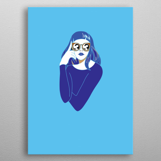 Beautiful young woman with sunglasses retro style. Pop art. Summer holiday. illustration metal poster