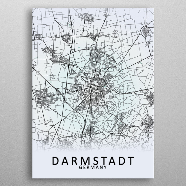 Darmstadt Germany City Map metal poster