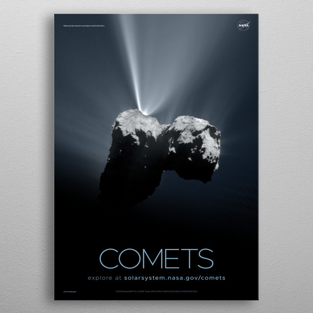 Comets are cosmic snowballs of frozen gases, rock and dust that orbit the Sun.  metal poster
