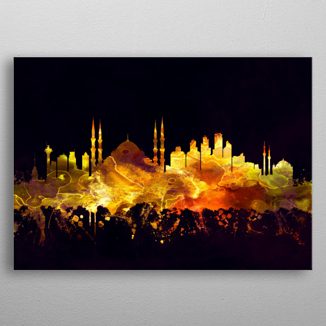Black and Gold skyline of Istanbul, a major city in Turkey that straddles Europe and Asia across the Bosphorus Strait  metal poster