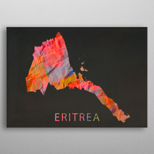 Eritrea Tie Dye Country Map metal poster
