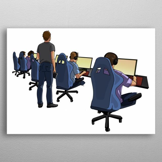 """Illustration du mot """"Bootcamp"""" issu du livre : Le langage décrypté du gamer par Tristan Berguer. metal poster"""