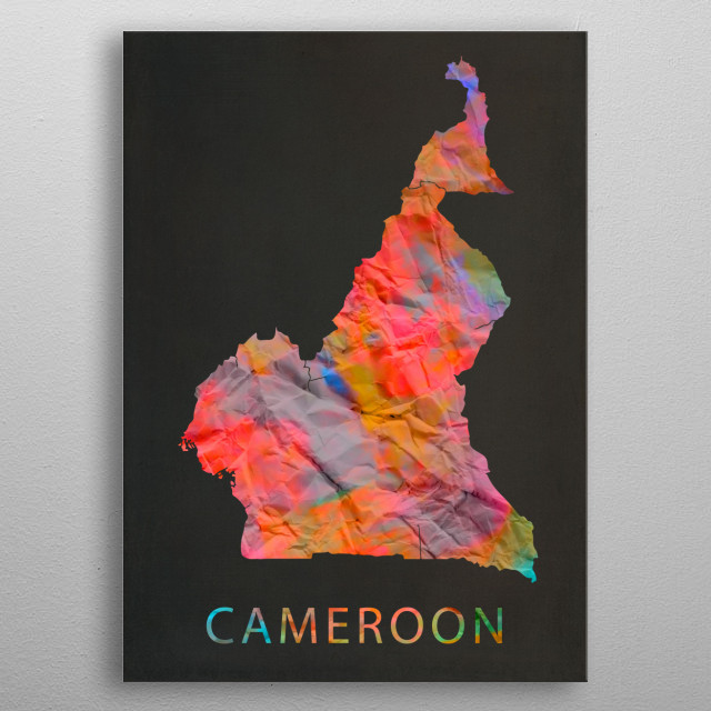 Cameroon Tie Dye Country Map metal poster