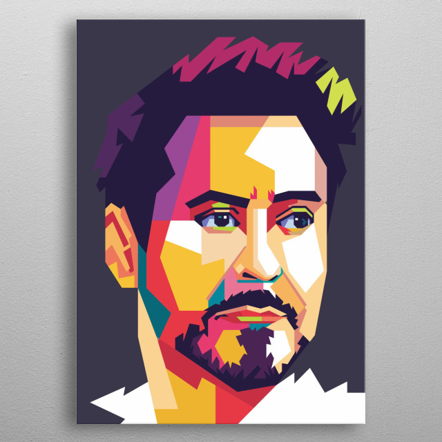 Robert Downey Jr. is a Hollywood actor who successfully played the role of Tony Stark in a film produced by Marvel. metal poster