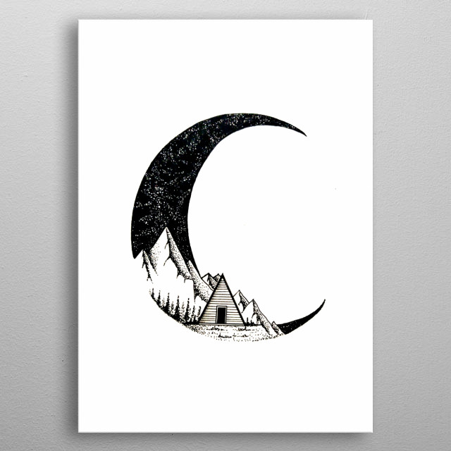 Illustration of a cabin nestled in the hills engulfed by space metal poster
