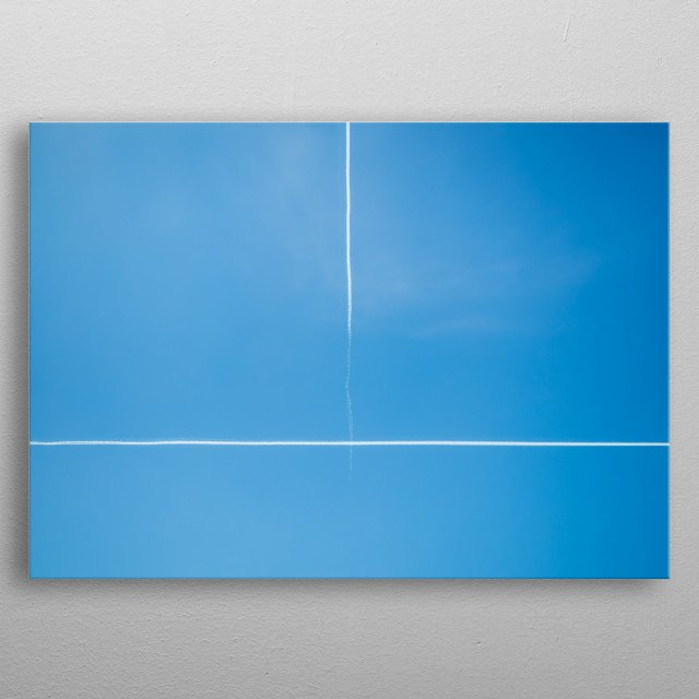 Minimalistic beautiful flights sign in the blue clear sky. metal poster