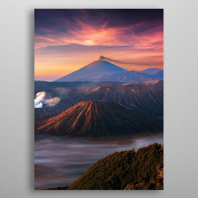 A very nice foggy view of some mountains with a volcano in the background smoking metal poster