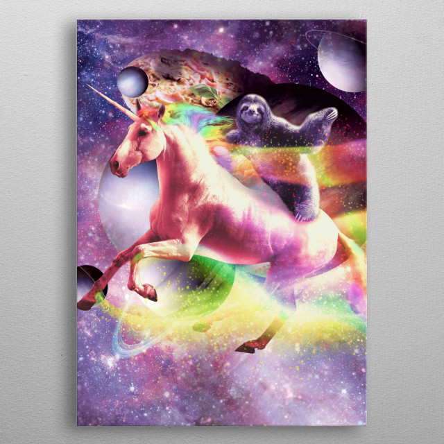 Pick up this funny awesome galaxy sloth design. This cosmic sloth on unicorn design makes a perfect gift metal poster