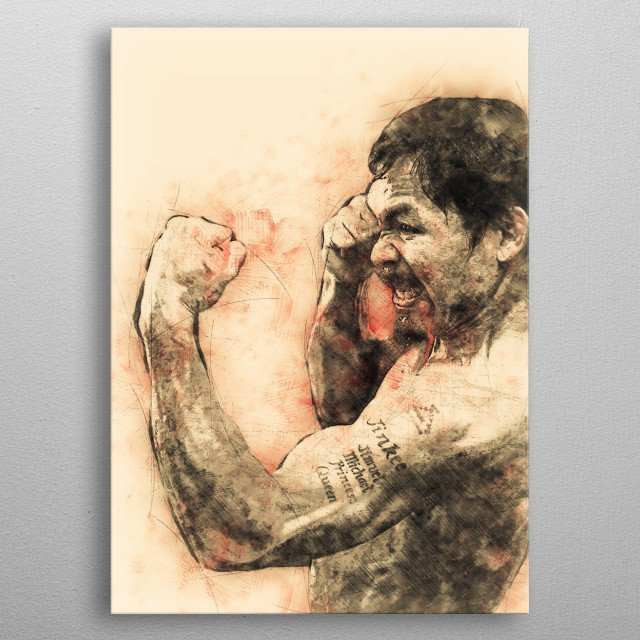 """This Artwork Sketch of Manny """"Pacman"""" Pacquiao is for all Boxing Fans out there. metal poster"""