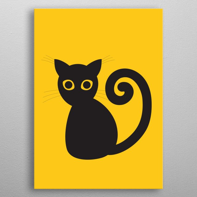 A silhouette drawing of a cute black cat with yellow eyes. Digital vector drawing. metal poster