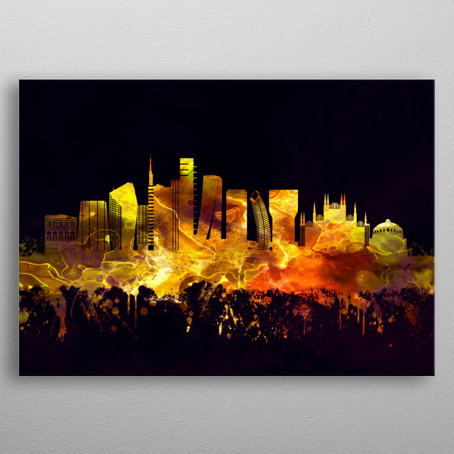 Black and Gold skyline of Milan, a metropolis in northern Lombardy region of Italy metal poster