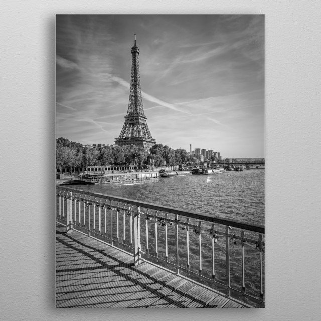 The Eiffel Tower in Paris characterizes the cityscape with 324 meters. Classical monochrome impression from Debilly Footbridge. metal poster