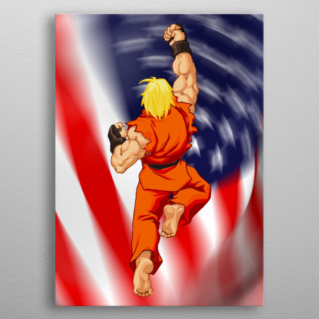 Street Fighter Ken in his signature move the dragon punch - shoryuken metal poster