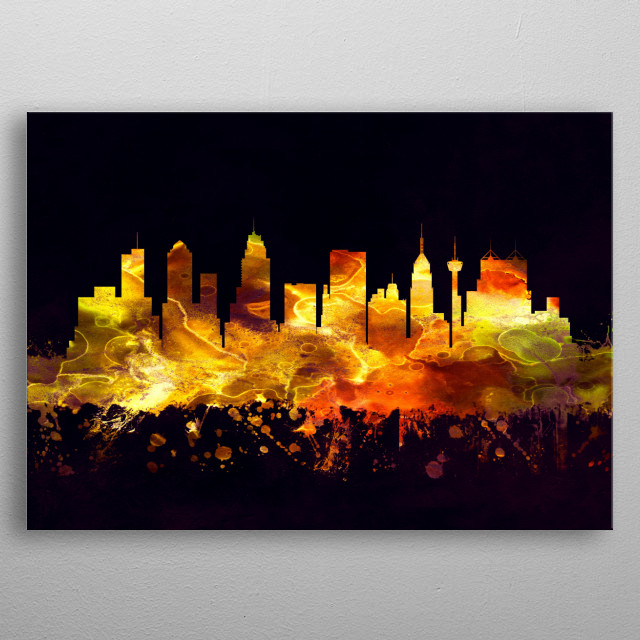 Black and Gold skyline of San Antonio, a major city in south-central Texas with a rich colonial heritage  metal poster