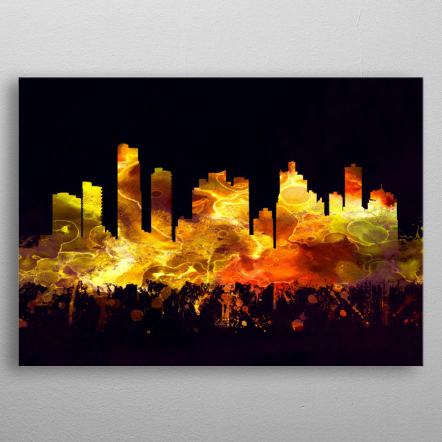 Black and Gold skyline of Panama City, a city and the county seat of Bay County, Florida, United States  metal poster