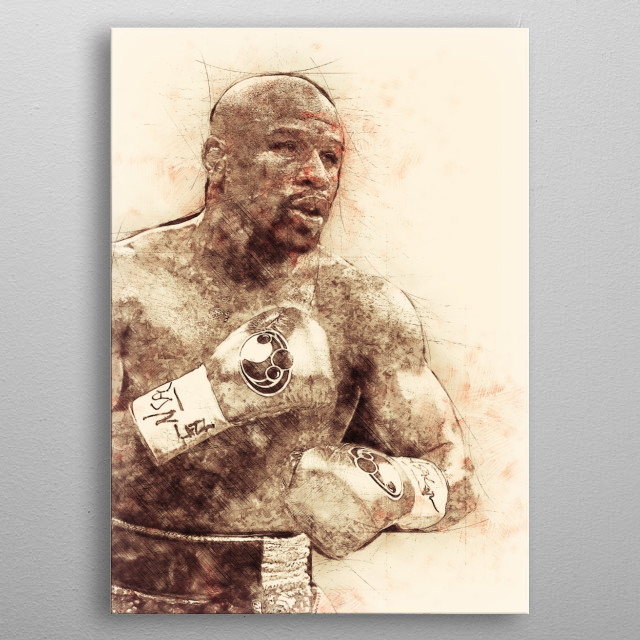 """This Artwork Sketch of Floyd """"Money"""" Mayweather is for all Boxing Fans out there. metal poster"""
