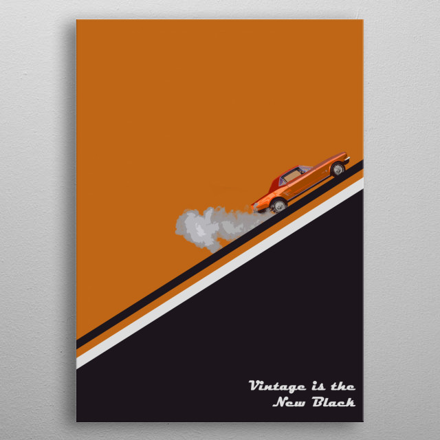 Retro style, vintage cars, orange-black-white combination and cool stripes. metal poster