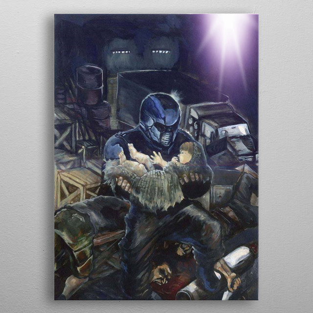 """He fight terrorists In order to protect the captured children To sacrifice with """"Satan"""" Diamond.. Is protected from the creator of universe. metal poster"""