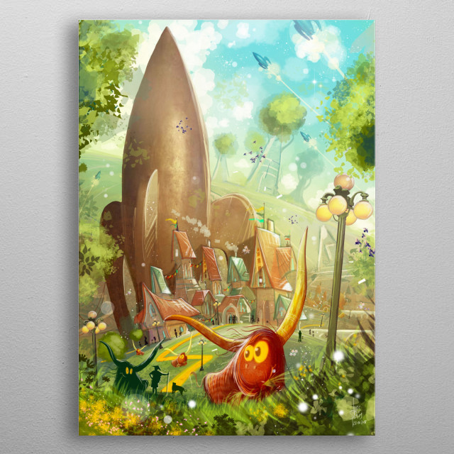Fantasy fairy tale world inspired by the Wizard of Oz environments and colorful style, featuring an enchanted village and a big rocket. metal poster