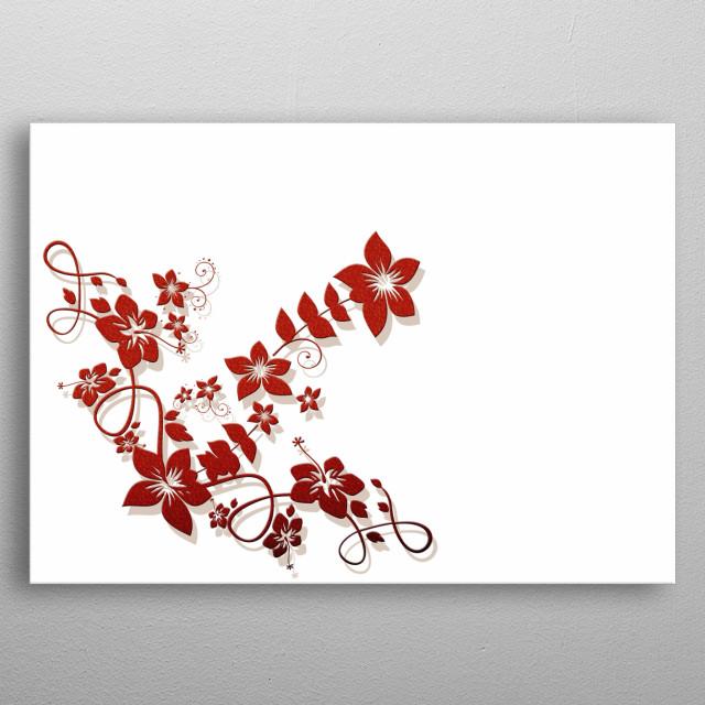 Artistic red vine floral design. metal poster