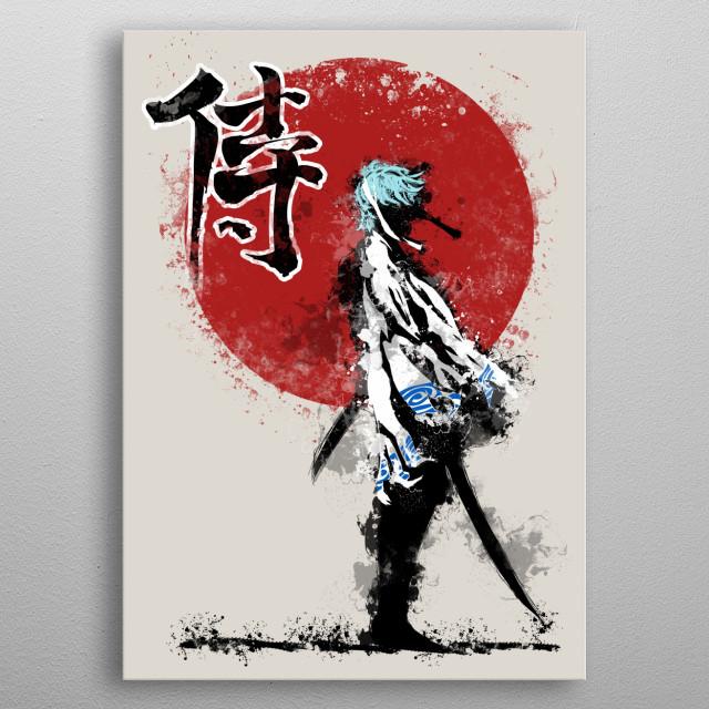 White Demon Samurai metal poster
