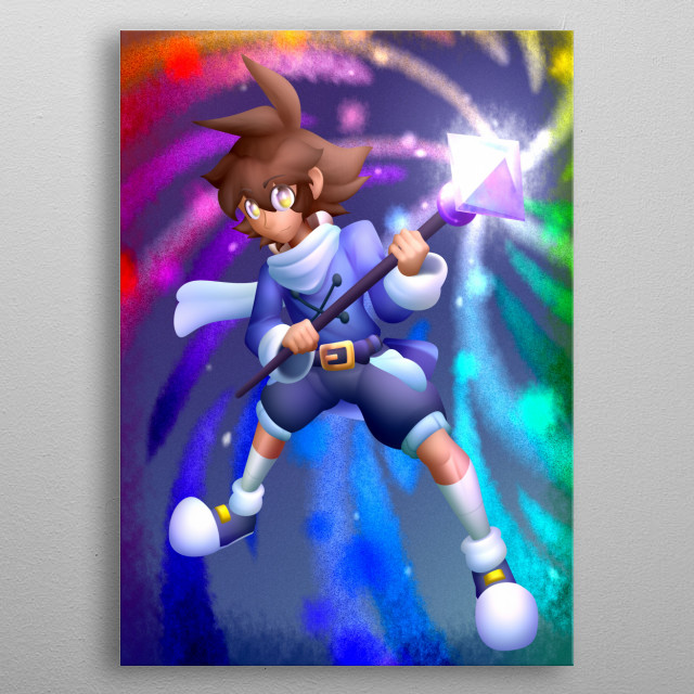 Fantasy anime character, your name is Adan, he is a wizard of a fantasy world. metal poster