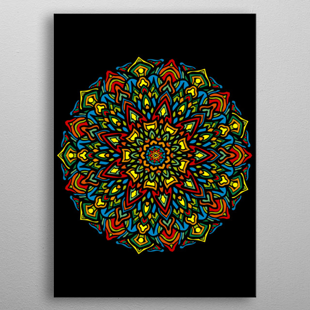 The mandala based upon color, geometric and culture, balancing visual elements, symbolizing unity harmony, cosmic & psychic order metal poster