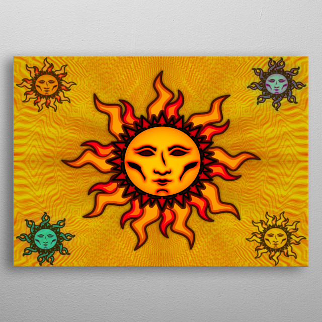 'Sublime Sun #2' vibrant sun icon designed by Connor A. Purcell. metal poster