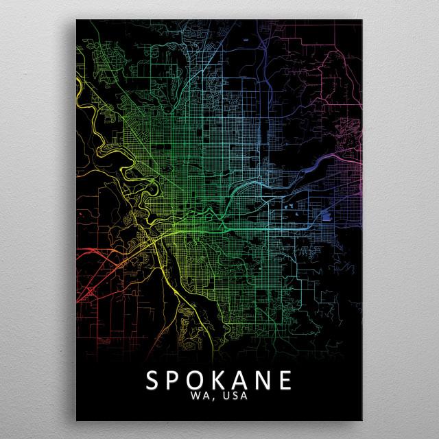 Spokane WA USA City Map metal poster