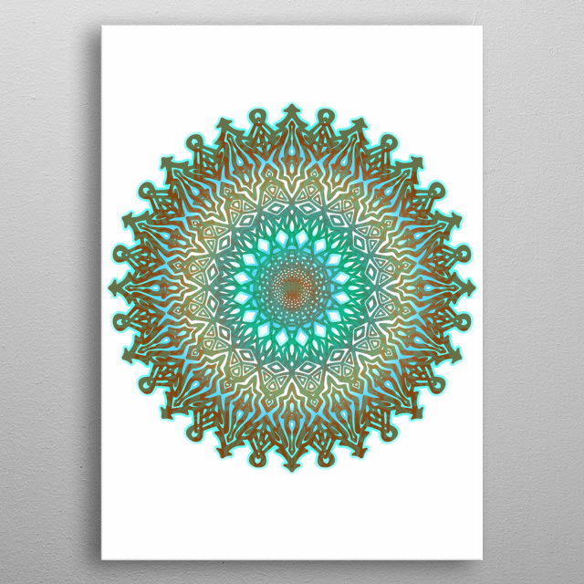 The mandala based upon color, geometric and culture, balancing visual elements, symbolizing unity harmony, cosmic & psychic order. metal poster