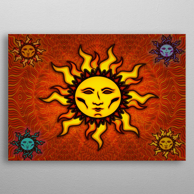 'Sublime Sun #1' psychedelic sun icon designed by Connor A. Purcell. metal poster