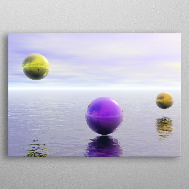 Colorful spheres hovers over water surface metal poster